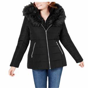 Maralyn & ME  Black Faux Fur Puffer Coat